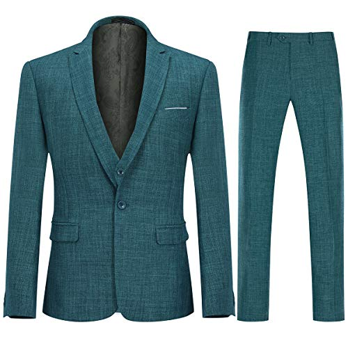 Mens 3 Piece Linen Suit Set Blazer Jacket Tux Vest Suit Pants Green (Best Suits For Men)