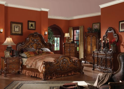 Cherry Oak Bedroom Set - ACME 12134CK-SET Dresden 4-Piece Bed Set, Cherry Oak Finish