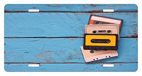 Indie License Plate by Ambesonne, Vintage Cassette Tapes on Aqua Wooden Table Close Up Photo Retro Music Old School, High Gloss Aluminum Novelty Plate, 5.88 L X 11.88 W Inches, - Vintage Indie