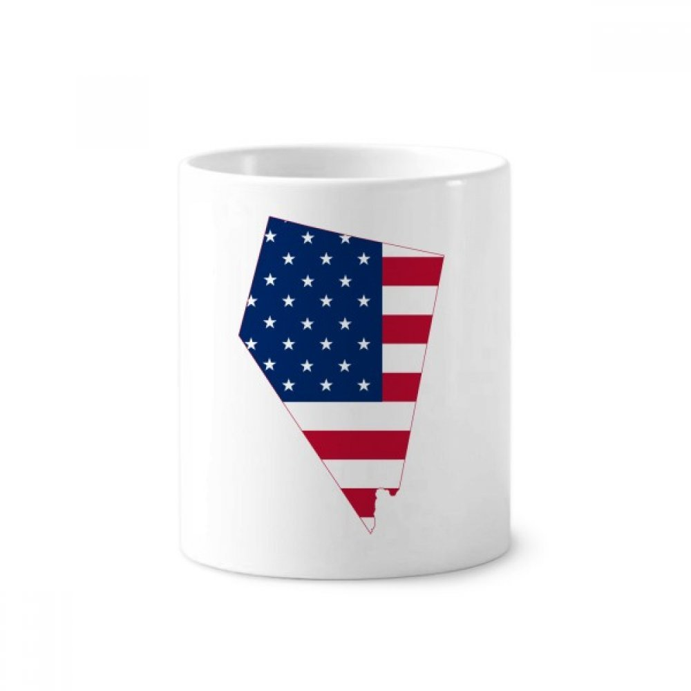 Nevada America Map Stars tripes Flag Shape Toothbrush Pen Holder Mug White Ceramic Cup 12oz