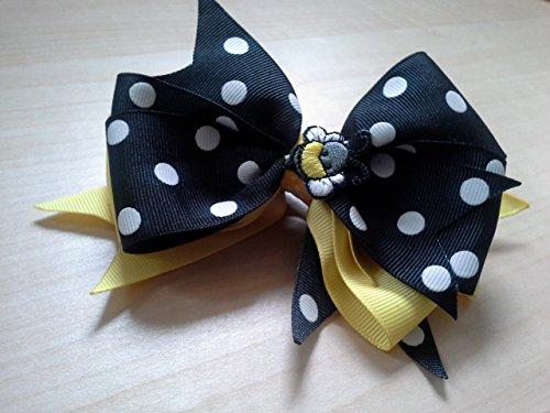 Bumble Bee Hair Bow - Toddlers Hair Bows - Polka Dot Hair Bow - Yellow Hair Bow - Girl Hair Bows - Black and White Bow - Summer Hair Bow - Bumble Bee Hair Bow