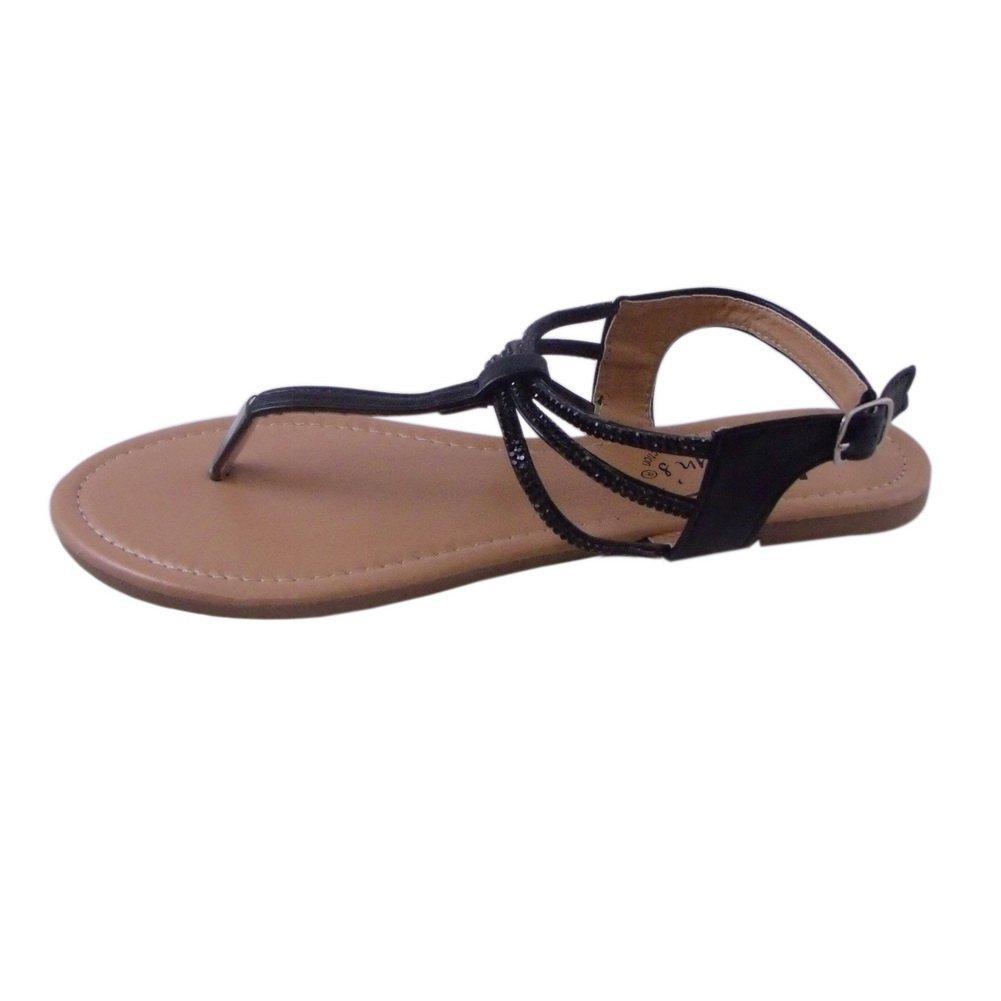 80%OFF BLANCHO Embellished T-Strap Sandal BLACK