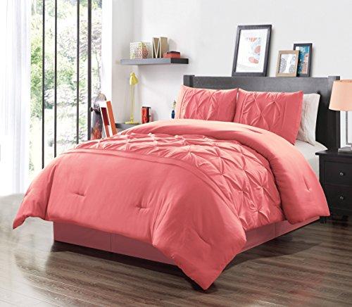 GrandLinen 3 Piece Full Size Solid Coral Pink Double-Needle Stitch Puckered Pinch Pleat Stripe All-Season Bedding-Goose Down Alternative Comforter Set ()