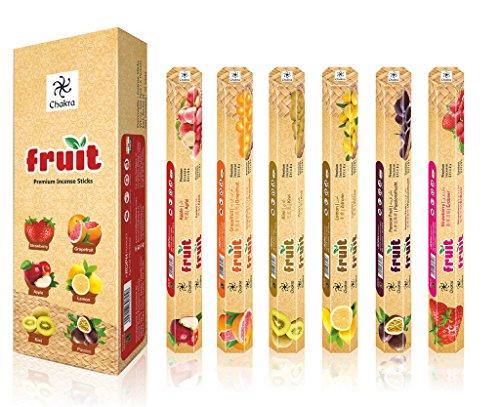 [Chakra Fruit Series 120 Fragrance Sticks - Premium Quality Natural Incense Sticks - Pack Of 6 – Long- lasting Joss Sticks – Enhance the Quality of Your Life with Scent Sticks] (Joss Incense Sticks)