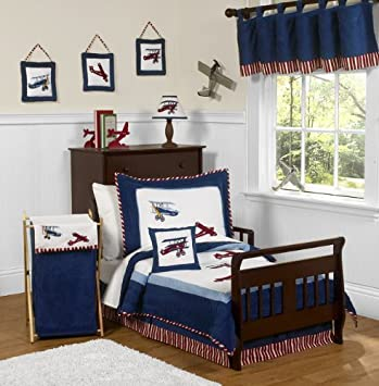 Amazon.com : Red, White And Blue Vintage Aviator Airplane 5 Piece Toddler Boy  Bedding Set : Baby