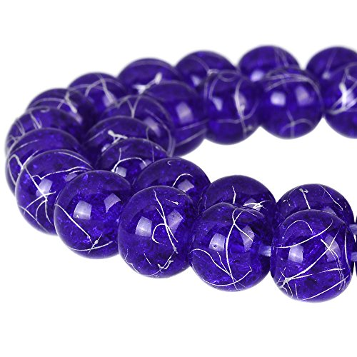 (RUBYCA Round Crackle Druk Czech Crystal Pressed Glass Beads for Jewelry Making 10mm Strand (Blue) )