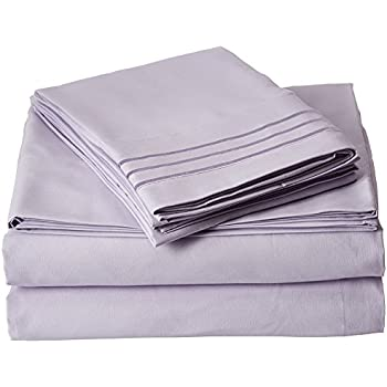 Elegant Comfort 1500 Thread Count Luxury Egyptian Quality Wrinkle and Fade Resistant 4-Piece Sheet Set, Full, Lilac