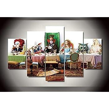 Alice in wonderland Johnny depp movie print poster canvas decoration 5 pieces