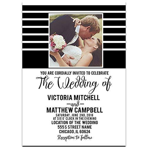 Stripes With Picture Wedding Invitation