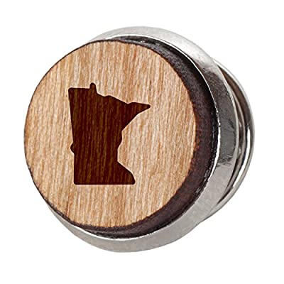Minnesota Stylish Cherry Wood Tie Tack- 12Mm Simple Tie Clip with Laser Engraved Design - Engraved Tie Tack Gift