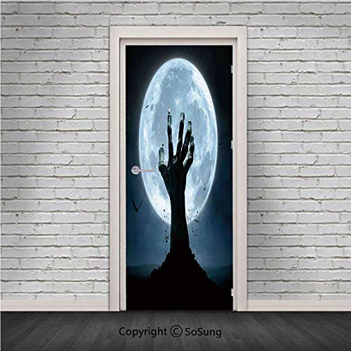 Halloween Decorations Door Wall Mural Wallpaper Stickers,Zombie Earth Soil Full Moon Bat Horror Story October Twilight Themed,Vinyl Removable 3D Decals 30.4x78.7/2 Pieces set,for Home Decor Blue Black -