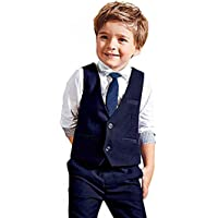 Carolilly Jungen Anzug mit Weste Hemd Gentleman Kinderanzug Hochzeit Taufe Festlich Outfit(1-7Y