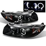 For 06-11 Honda Civic 2DR Coupe Black Bezel Dual Halo Ring Projector Headlights Driver Passenger Lamps