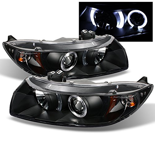 For 06-11 Honda Civic 2DR Coupe Black Bezel Dual Halo Ring Projector Headlights Driver Passenger Lamps Civic Projector Headlights Black Housing