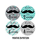 Months in Motion 217 Monthly Baby Stickers - Baby Boy - Months 1-12 - Milestone Sticker Mustache