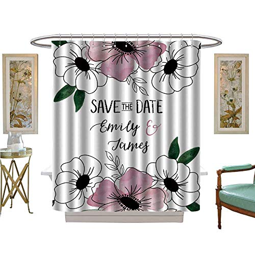 luvoluxhome Shower Curtain Customized Vintage wedd Invitation with Flowers Save The Date Design Drawn Vector Satin Fabric Bathroom Washable W48 x L72 -