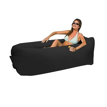 Home-Neat Lazy Bag laybag Saco de Dormir rápido Aire Inflable Camping Playa de Dormir sofá Cama salón de Cuadrado Bolsa Aire Cama Tumbona (Negro): ...