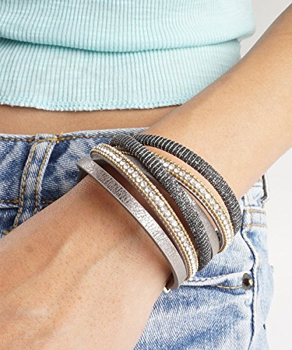 Women Bohemian Bracelet Woven Braided Handmade Wrap, Blackish Grey Wrap Cuff Bracelet, Gold Vegan Leather MultiStrand Chain and Grey Sequins Magnetic Clasp