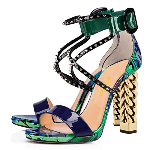 FSJ Women Gold Metal Chain Thick High Heel Sandals Open Toe Strappy Ankle Buckle Strap Slingback Comfy Summer Dress Pumps Size 8 ()