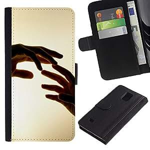 LECELL--Cuero de la tarjeta la carpeta del tirón Smartphone Slots Protección Holder For Samsung Galaxy Note 4 IV -- Manos Tocando --