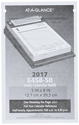 Off Daily Desk Calendar Base - AT-A-GLANCE Daily Desk Calendar Refill 2017, 5 x 8