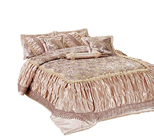 Tache Home Fashion 6 PC Warm Decorative Beige Roses Sequin Ruffled Faux Satin Comforter Bedding Set, King