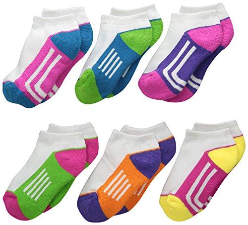 Jefferies Socks Big Girls' Athletic Low Cut Socks, Neon, Medium(Pack of 6) - 1/2 Cushion Ankle Socks