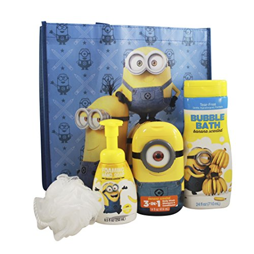 Despicable Me Minions Deluxe Gift Featuring Minions Bubble Bath, Hair and Bodywash, Foaming Hand Soap, Body Pouf, and a Minions Tote (Minions Phrases)
