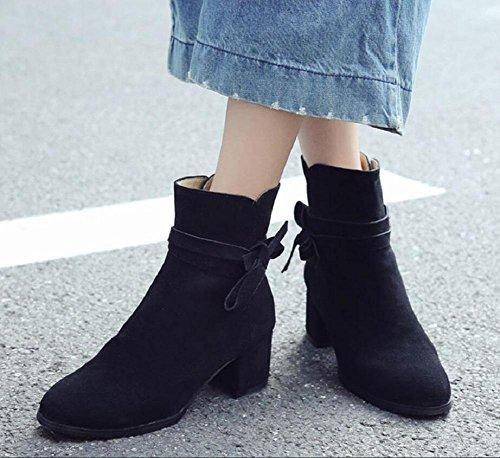 Signore grossolana nel pelle Bootie femminile in Stivali Casual nudo caviglia Bow con nabuk 35 scarpe 34 il breve temperamento 4pWAq