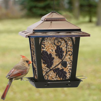 Woodlink Bird Home Hopper Feeder W/Oak Leaf by Woodlink