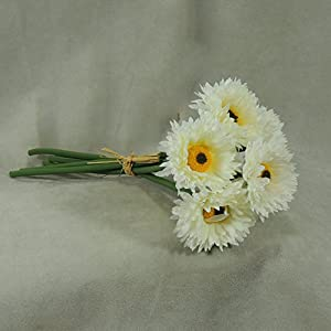 Factory Direct Craft Group of 3 Artificial Cream Aster Mum Floral Bundles Tied with Raffia 27
