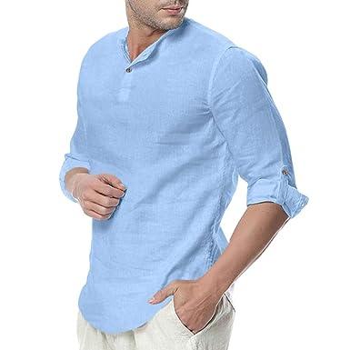 Amasells - Blusa Holgada de Mezcla de algodón para Hombre ...