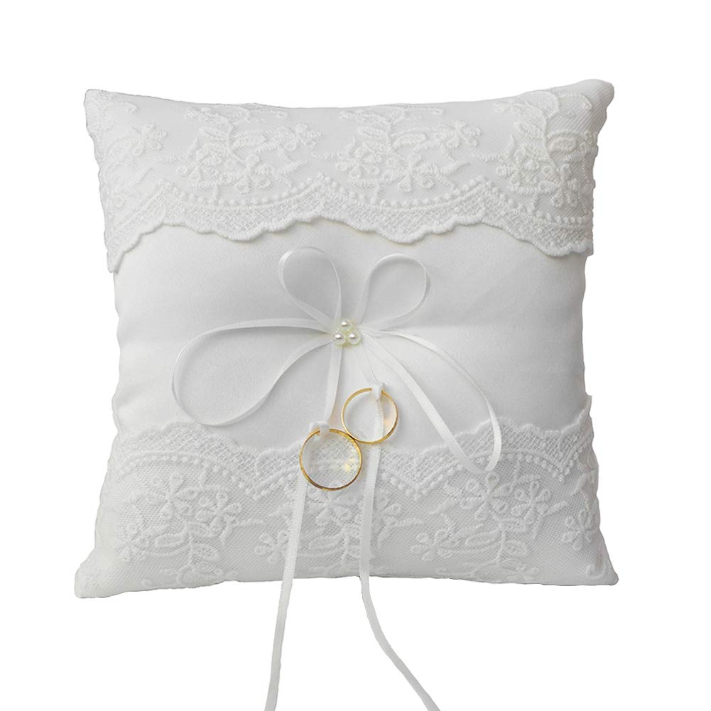 ARKSU Lace Pearl Ring Pillow Ivory Cushion Bearer 8.2 Inch for Beach Wedding