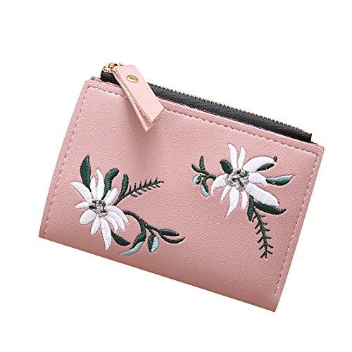 Damen Brieftasche Pu-leder Reißverschluss Blumen Stickerei, Dxlta Frauen Kurzen Geldbeutel Geld Tasche Foto Kleine Clutches 5 Farben Pink