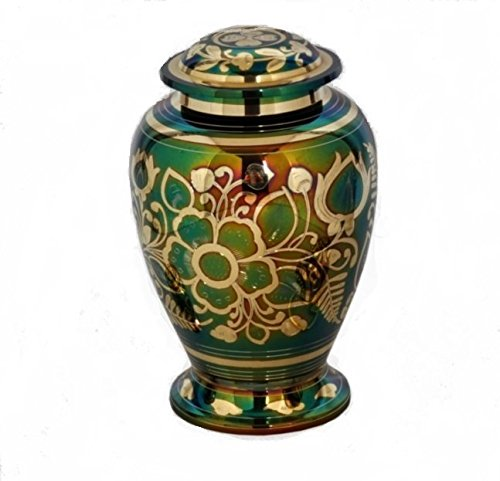 Human Funeral Urn Hand Made Liveurns Set of 2 Floral Emerald Green Cremation Keepsake Urn