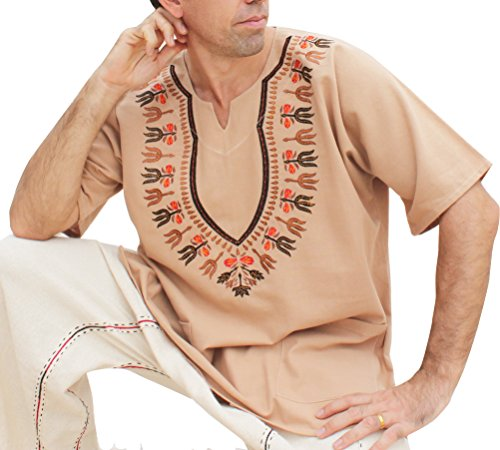 RaanPahMuang Brand Mens Shirt Muang Cotton Embroidered Dashiki Art, X-Small, Bright Brown (Thai Dress Embroidered)