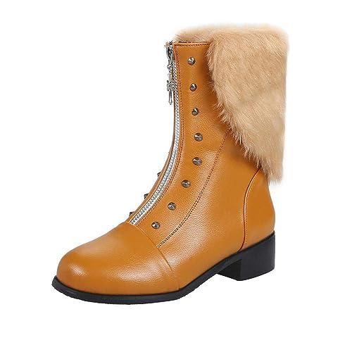 Logobeing Botines Mujer Tacon Planos Botas de Mujer Casual Plataforma Zapatos Remaches Retro Zapatos de Cremallera Frontal de Cuero Mantienen Cálidas ...