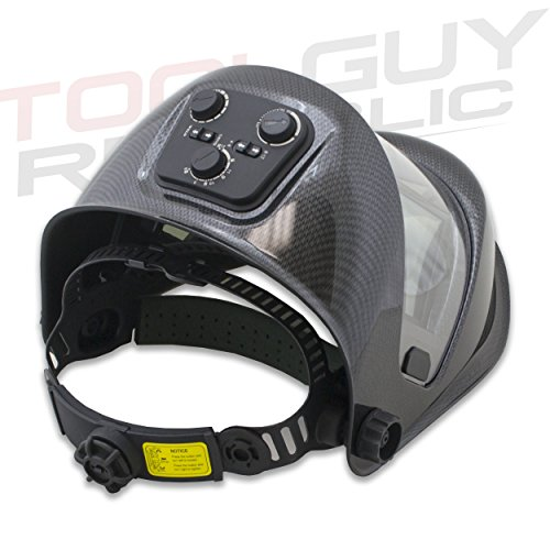 TGR Panoramic 180 View Solar Powered Auto Darkening Welding Helmet - True Color (Carbon Fiber) by Tool Guy Republic (Image #2)