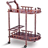 AyaMastro Cherry Wood Kitchen Serving Trolley Cart w/ 2 Tier with Ebook