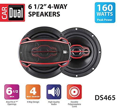 Dual DS465 4-Way 6 ½ inch Car Speakers with 160-Watt Power & 35mm Mylar Balanced Dome Midrange