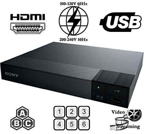 Sony All Region Free Blu Ray A B C and DVD Player, and 6 feet hdmi Cable (Bundle) (Ntsc Pal Sony)
