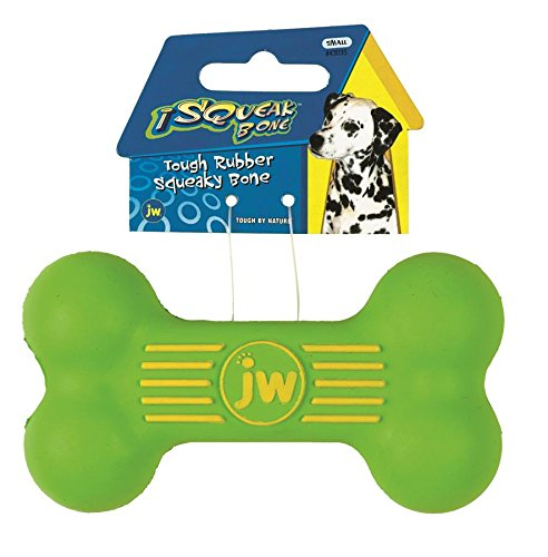 - JW Pet Company iSqueak Bone Rubber Dog Toy, Small, Colors Vary