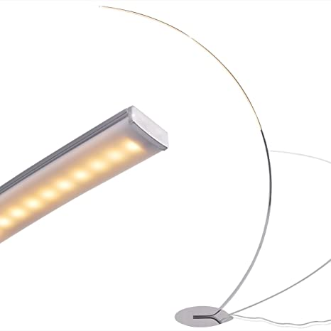 vidaXL Lámpara de Pie LED Regulable Diseño Moderno Tira Curvada Metal Cromado