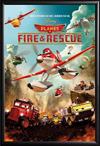 Framed Planes - Fire & Rescue Disney Movie Poster in Basic Black Detail Wood