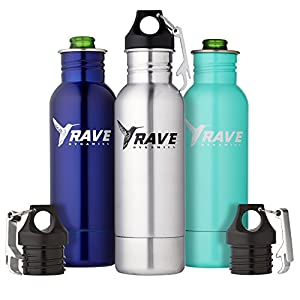 Stainless Steel Bottle Insulator - Beer Cooler - Bottle Holder - Fits Most 12oz Bottles - Cold Beer - Liquid Tight Seal with Bottle Opener by RAVE Dynamics (1, Turquoise)
