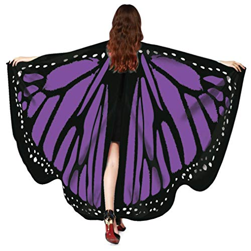 Halloween Party Soft Fabric Butterfly Wings Shawl Fairy Ladies Nymph Pixie Costume Accessory (168135CM, Purple 5341) -