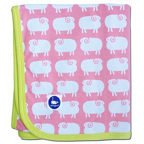 Sheep Baby Blanket (Pink and Chartreuse)