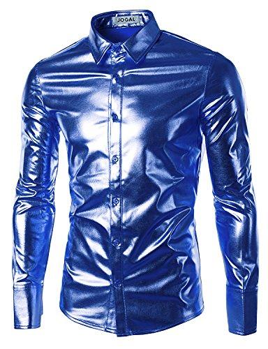 JOGAL Mens Trend Nightclub Styles Metallic Silver Long Sleeve Button Down Shirts XXX-Large Blue -