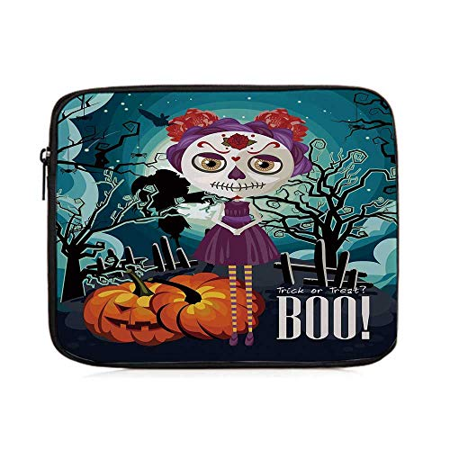 Halloween,Cartoon Girl with Sugar Skull Makeup Retro Seasonal Artwork Swirled Trees Boo Decorative,One Size]()
