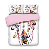 Cal King Measurements Vs King Pink Duvet Cover Set,King Size,Hand Drawn Dream Catcher Illustration Ethnic Bohemian Style Image Vibrant Colored Decorative,Decorative 3 Piece Bedding Set with 2 Pillow Sham,Best Gift For Girls Women,